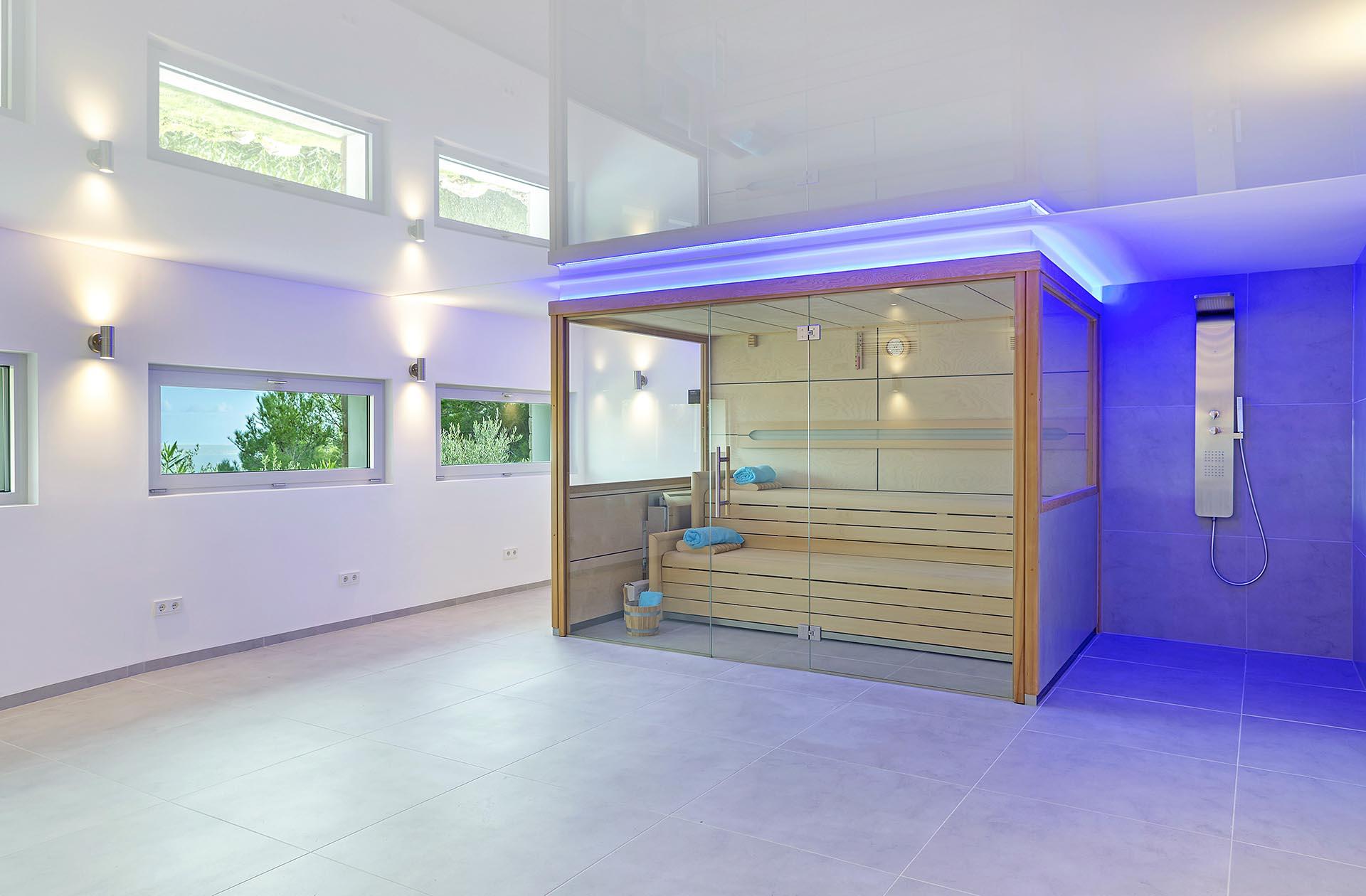 Beautiful modern villa in Costa den Blanes - Luxurious sauna area